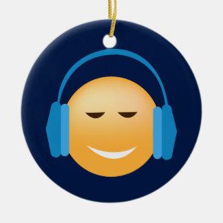 Ornement Rond En Céramique Emoji avec des écouteurs