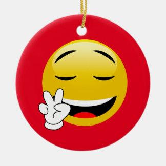 Ornement Rond En Céramique Emoji avec des mains de signe de paix