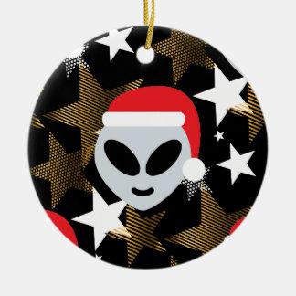 Ornement Rond En Céramique emoji d'alien de père Noël