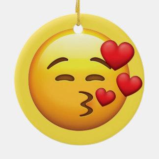 Ornement Rond En Céramique Emoji de baiser