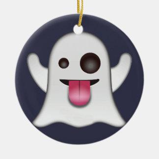 Ornement Rond En Céramique Emoji de fantôme