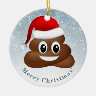 Ornement Rond En Céramique emoji de poo de Noël avec le casquette de père