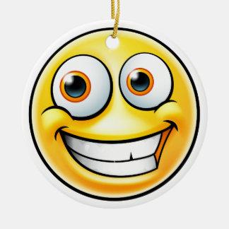 Ornement Rond En Céramique Émoticône heureuse d'Emoji
