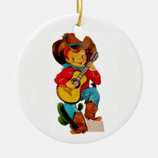 Ornement Rond En Céramique Enfant chanteur de cowboy