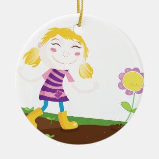 Ornement Rond En Céramique Enfant dans le jardin