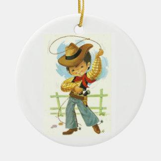 Ornement Rond En Céramique Enfant de cowboy