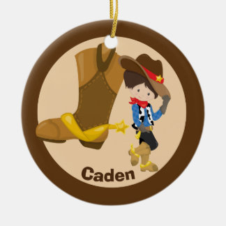 Ornement Rond En Céramique Enfant fait sur commande de cowboy