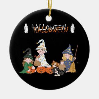 Ornement Rond En Céramique Enfants � Halloween -