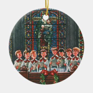 Ornement Rond En Céramique Enfants vintages de Noël chantant le choeur dans