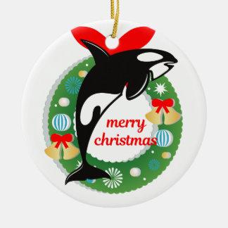 Ornement Rond En Céramique épaulard de Joyeux Noël
