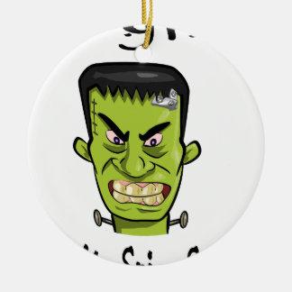 Ornement Rond En Céramique Épice de citrouille de Frankenstein