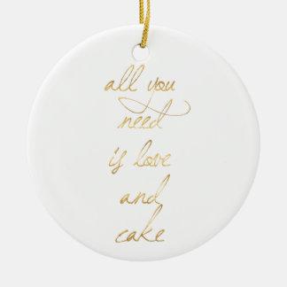 Ornement Rond En Céramique épouser la citation, or, amour, romance, cadeaux