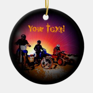 Ornement Rond En Céramique Équitation de motocyclette du motocross du garçon