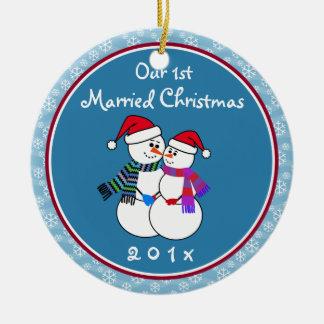 Ornement Rond En Céramique ęr Noël marié de couples de neige d'amusement de