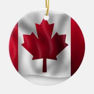 Ornement Rond En Céramique Érable canadien de feuille d'emblème de pays de