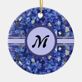 Ornement Rond En Céramique Étincelle en verre bleue de monogramme de cristaux