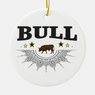 Ornement Rond En Céramique étiquette brun de taureau