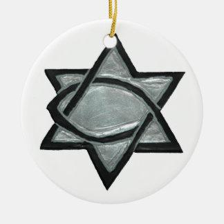 Ornement Rond En Céramique Étoile due Messie argentée
