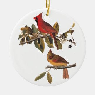 Ornement Rond En Céramique Ex-libris vintage d'Audubon d'oiseaux de gros-bec