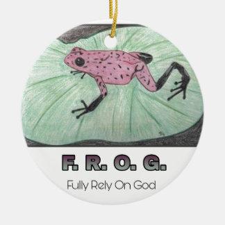 Ornement Rond En Céramique F.R.O.G. - Comptez entièrement sur Dieu