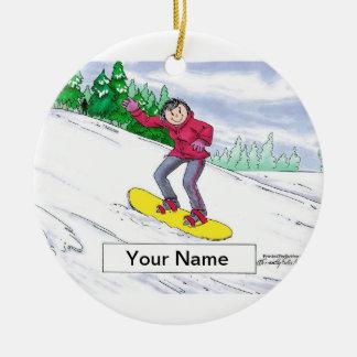 Ornement Rond En Céramique Faire du surf des neiges - femelle