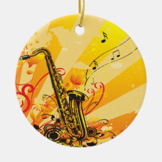 Ornement Rond En Céramique Faisceaux bariolés de saxophone de la musique