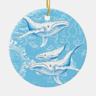 Ornement Rond En Céramique Famille de baleines bleues