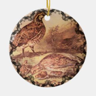 Ornement Rond En Céramique Famille d'ornement de cailles
