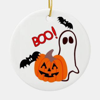 Ornement Rond En Céramique Fantôme et citrouille illustrés de Halloween