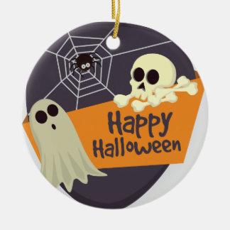 Ornement Rond En Céramique Fantômes heureux et os croisés de Halloween