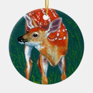 Ornement Rond En Céramique Faune secrète de faon de cerfs communs