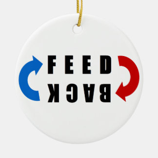 Ornement Rond En Céramique Feed back red and blue