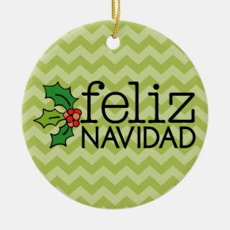 Ornement Rond En Céramique Feliz Navidad avec les chevrons verts
