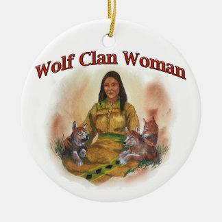 Ornement Rond En Céramique Femme de clan de loup