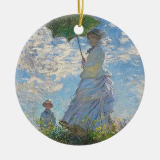 Ornement Rond En Céramique Femme de Claude Monet   avec un parasol