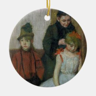 Ornement Rond En Céramique Femme d'Edgar Degas | avec deux petites filles