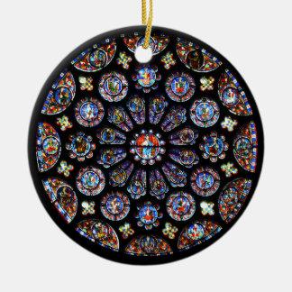 Ornement Rond En Céramique Fenêtre rose de Chartres