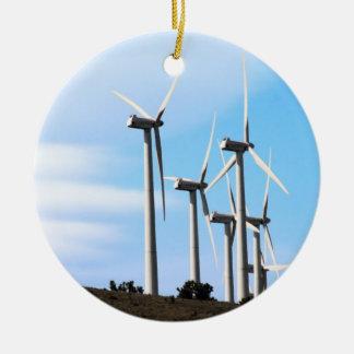Ornement Rond En Céramique Ferme de vent de Tehachapi de Mojave d'énergie