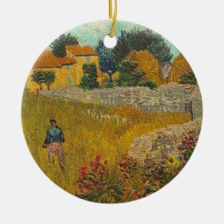 Ornement Rond En Céramique Ferme de Vincent van Gogh | en Provence, 1888