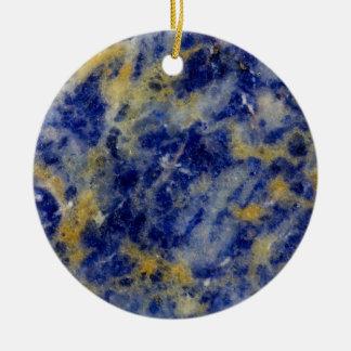 Ornement Rond En Céramique Fermez-vous d'un Sodalite bleu