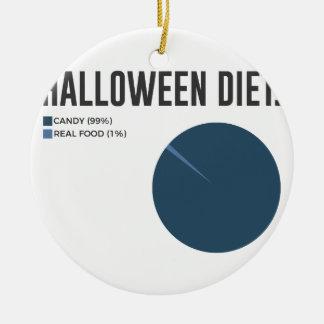 Ornement Rond En Céramique Festins de bonbons à régime de Halloween et