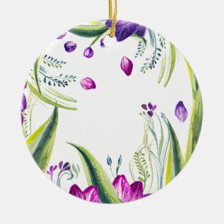Ornement Rond En Céramique Feuille et fleurs tropicaux pour votre maison