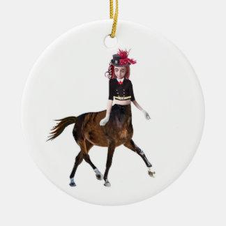 Ornement Rond En Céramique Fille de cheval