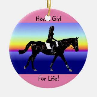 Ornement Rond En Céramique Fille de cheval pendant la vie !