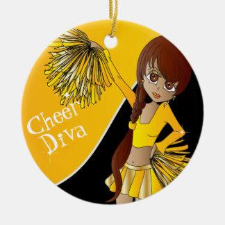 Ornement Rond En Céramique Fille de pom-pom girl de jaune de diva