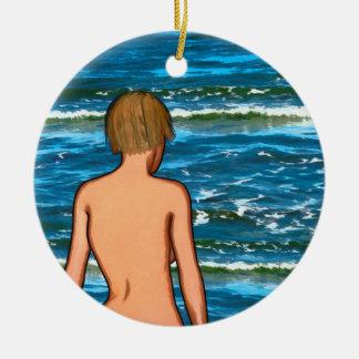 Ornement Rond En Céramique Fille en mer peignant l'ornement en céramique