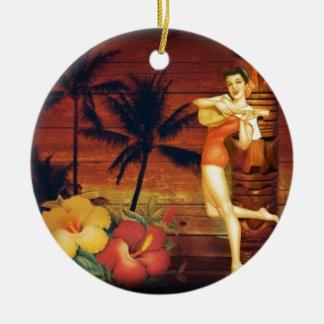 Ornement Rond En Céramique fille hawaïenne tropicale de poteau de totem de