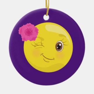 Ornement Rond En Céramique Fille mignonne Emoji de Winky (floral)