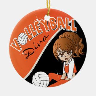 Ornement Rond En Céramique Fille orange de diva de joueur de volleyball