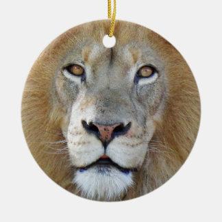 Ornement Rond En Céramique Fin majestueuse de lion